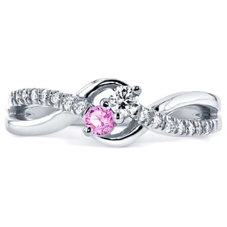 Annello by Kobelli Two Collection 14k White Gold Pink Sapphire and 1/6ct TDW Diamond 2-stone Ring