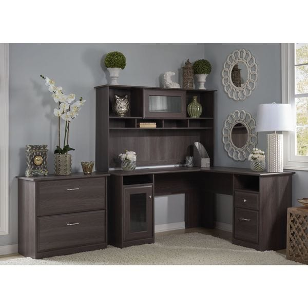Bush Furniture Cabot Collection L-Desk with Hutch, Lateral File and 5