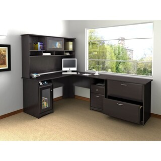Cabot L Shaped Desk with Hutch and Lateral File Cabinet in Cherry (3 options available)