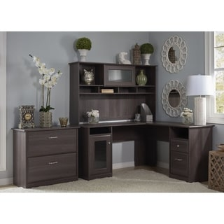 Copper Grove Daintree L-shaped Hutch Desk with Lateral File Cabinet