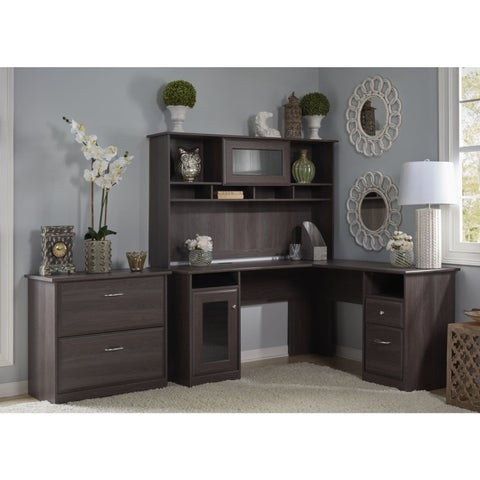 Copper Grove Daintree L-shaped Desk with Hutch and Lateral File Cabinet