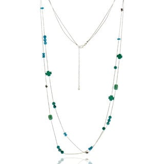 Sterling Silver Multi Turquoise Necklace with 36-inch Chain and 3-inch Extension (China)