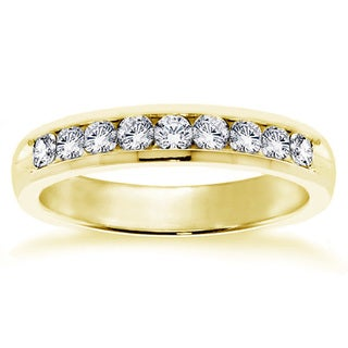14k Yellow Gold 3/4ct TDW Channel-set Round Diamond Wedding Band