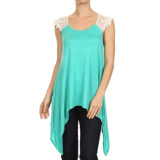 MOA Collection Women's Solid Color Tunic with Lace Insets
