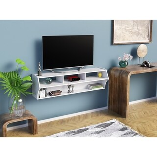 Prepac Winslow White Wood Altus Plus Wall Mounted Audio/Video Console