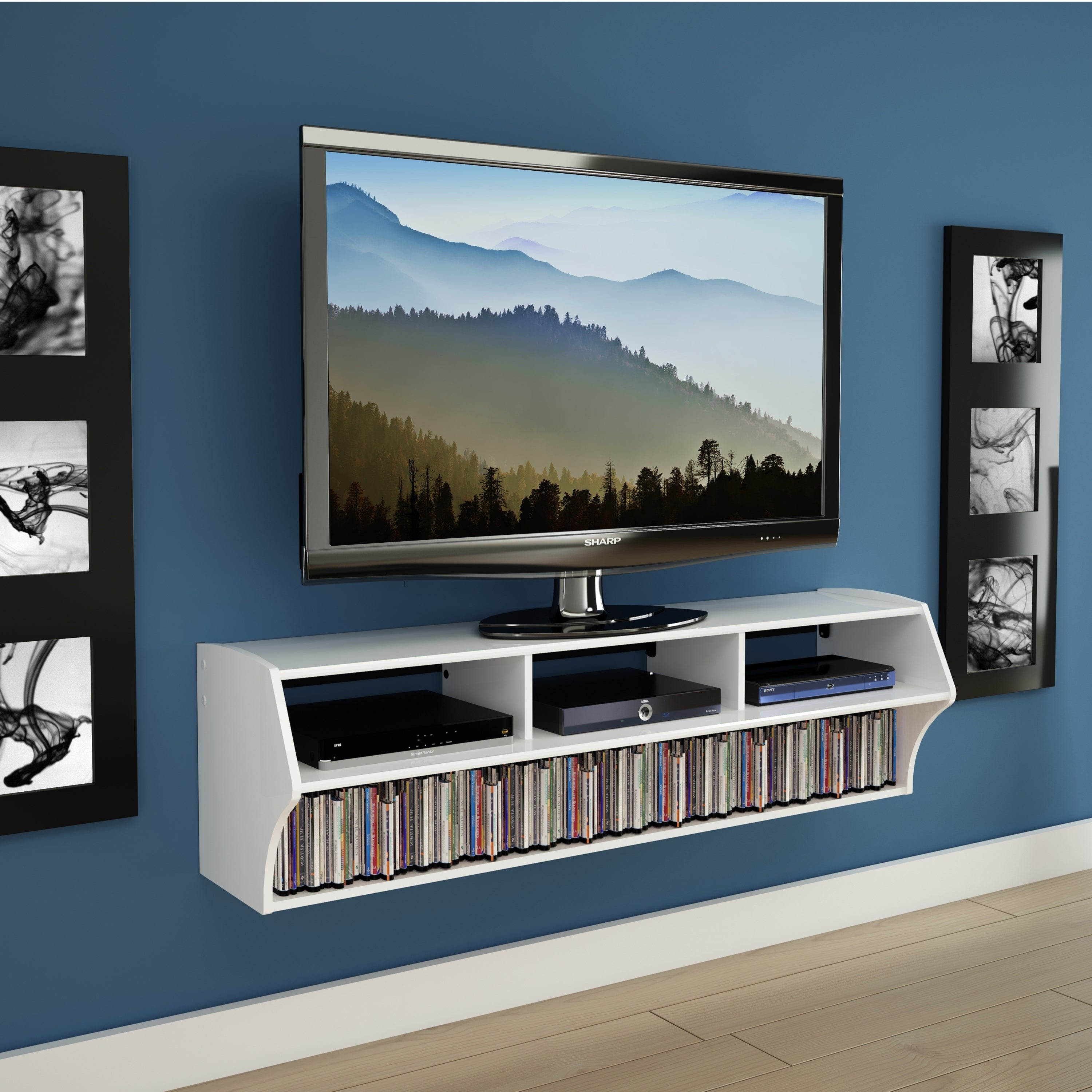 58 Wood Wall Mount Floating Media Center TV Stand Shelf Media Console CD Storage