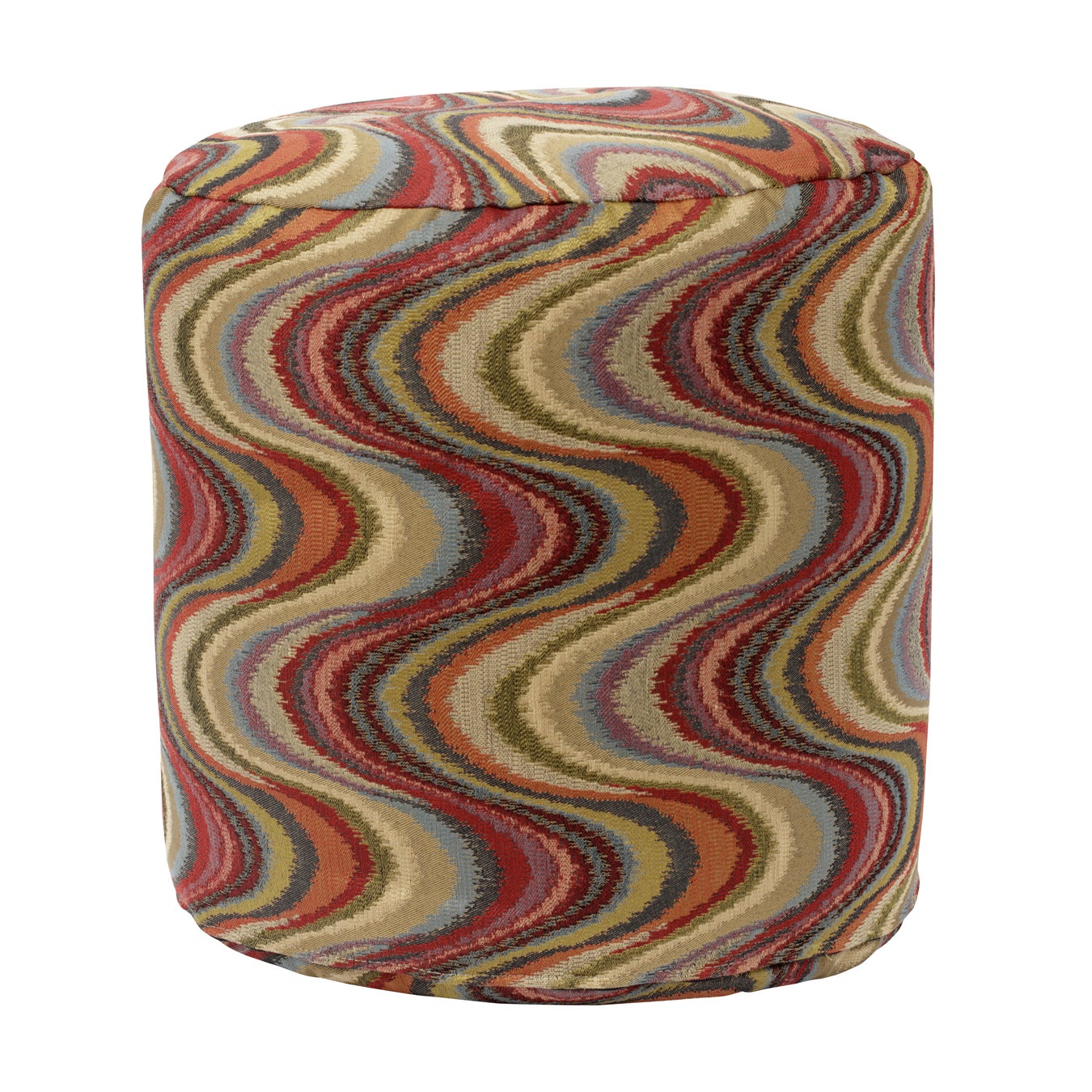 American Frequency Tomato Tapestry Pouf Ottoman, Brown, S...