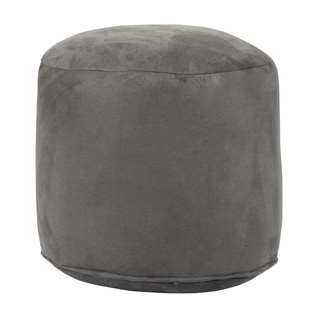 Grey Cylindrical Pouf Ottoman