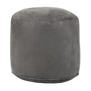 Grey Cylindrical Pouf Ottoman