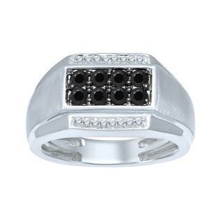 Unending Love Sterling Silver 3/4ct TDW Treated Black & White Diamond Gents Ring