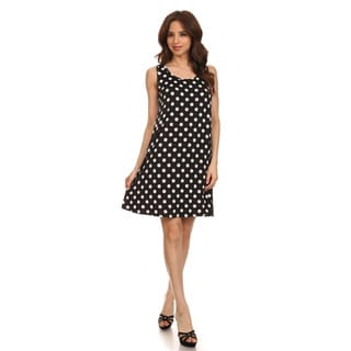MOA Collection Women's Polka Dot Sleeveless A-Line Dress