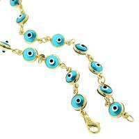 14k Yellow Gold 5.5mm Baby Blue Evil Eye Good Luck Bracelet