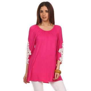MOA Collection Women's Solid Color Long Sleeve Tunic with Lace Insets