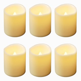 Flickering Mini Pillar Amber Lights with Timer (Set of 6)