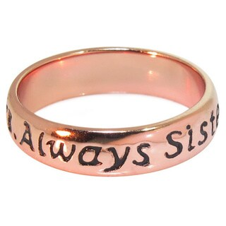 Eternally Haute 14k Rose Goldplated Sterling Silver 'Always Sisters' Ring