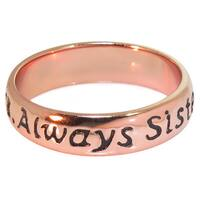Eternally Haute Rose Goldplated Sterling Silver 'Always Sisters' Ring