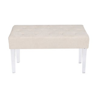 Adeco Button Tufted Fabric Bench with Clear Acrylic Legs