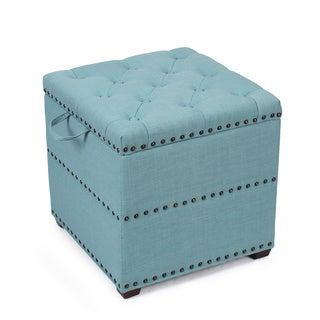 Adeco Fabric Square Ottoman with Tray