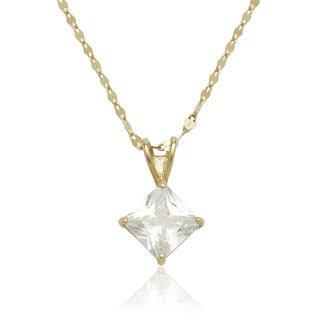 Link to 14K Gold 6mm Princess Cubic Zirconia Solitaire Necklace Similar Items in Necklaces