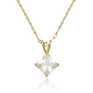 14K Gold 6mm Princess Cubic Zirconia Solitaire Necklace