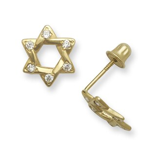 14k Gold Cubic Zirconia Star of David