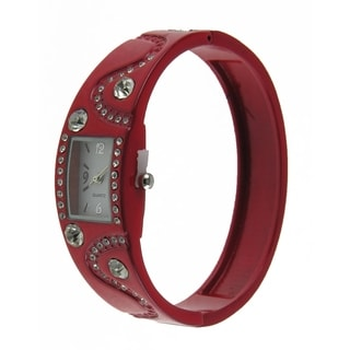 Women's Red Clear Sparkling Crystal Accents Enamel Bangle