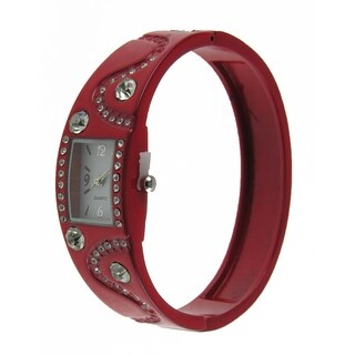 Women's Red Bangle Watch with Rectangular Dial, Clear Crystal Accents, and Enamel Bangle
