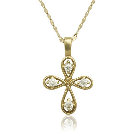 14k Gold Cubic Zirconia Rounded Cross Necklace (16-inch chain included)