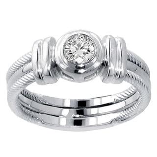 14k/ 18k White Gold 1/4ct TDW Bezel Set Diamond Anniversary Wedding Ring