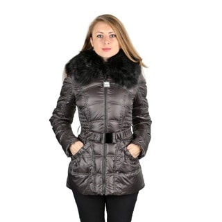 Laundry by Shelli Segal Gunmetal Down Puffer Coat