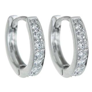Queenberry Sterling Silver Clear CZ Crystal Ring Huggie Hoop Earwire Earrings