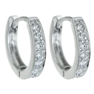 Queenberry Sterling Silver Clear CZ Crystal Ring Hoop Earwire Earrings