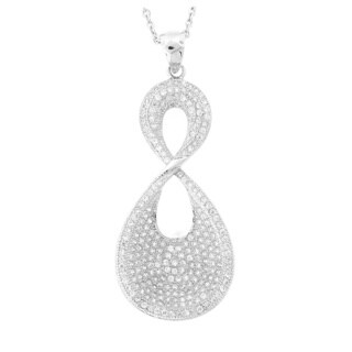 Meredith Leigh Platinum/ Yellow Goldplated Sterling Silver Cubic Zirconia Twist Pendant Necklace