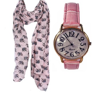 Elephant Print Scarf and Jumbo Pink Faux Leather Band Watch Set