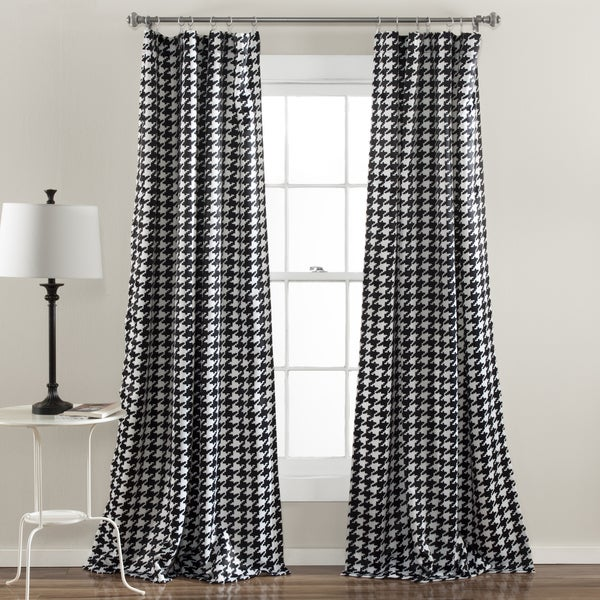 Lush Decor Houndstooth Window Curtain Panel Pair - Free