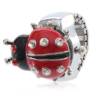 Women's Ladybug Ring Watch with Red Ladybug Cover and Clear Crystal Accents