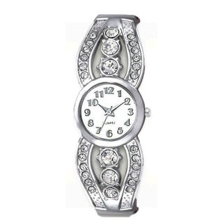Women's Silver Cuff Watch with Crystal Accents Easy-read Dial