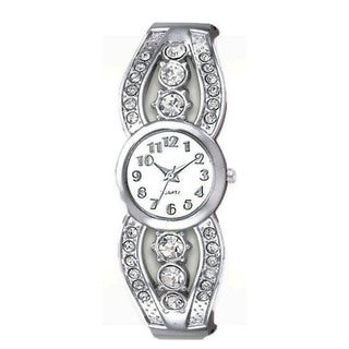 Women's Silver Crystal Cuff Watch with Round Dial, Crystal Accents, and Easy Read Dial