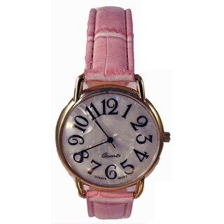 Women's Pink Faux Leather Band Watch with White Jumbo Dial Watch Easy Read Numbers
