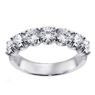 14k White Gold 1 1/2ct TDW 7-stone Diamond Wedding Band