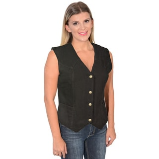 Women's Plain Side 4-Snap Front Denim Vest (Option: 2x)