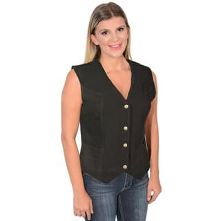 Women's Plain Side 4-Snap Front Denim Vest|https://ak1.ostkcdn.com/images/products/10812592/P17857647.jpg?impolicy=medium
