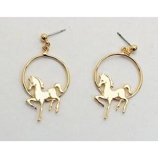 Detti Originals Handmade Goldtone Hoop Horse Earrings