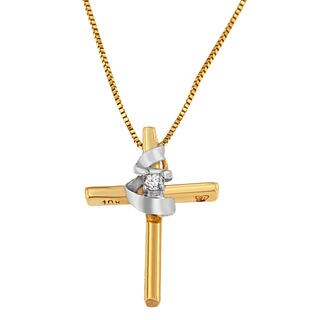 Espira 10k Yellow Gold Round-cut Diamond Accent Cross Pendant (H-I, I2-I3)