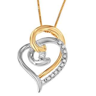 Espira 10k Two-tone Gold 1/10ct TDW Round Diamond Pendant (I-J, I2-I3)