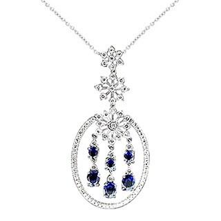 18kwg Diamond and Sapphire Pendant 1.11 tdw (I-J,SI1-SI2)