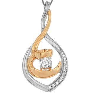 Espira 10k Two-tone Gold 1/4ct TDW Round Diamond Pendant (H-I, I2-I3)