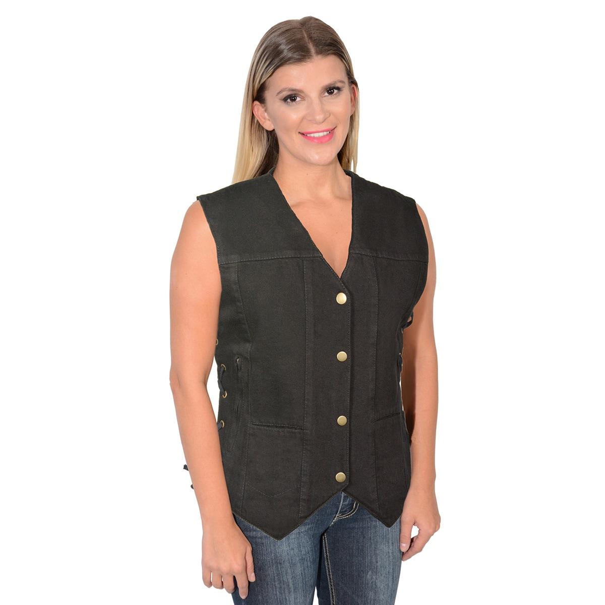 Milwaukee Leather Women/'s 6 Pocket Side Lace Denim Vest BLK MDL4020