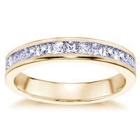 14k Yellow Gold 3/4ct TDW Princess-cut Channel-set Diamond Wedding Band