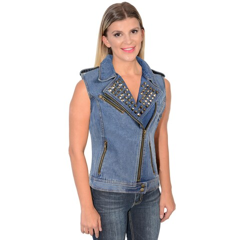 Women's Zipper Front Stud Spikes Denim Vest